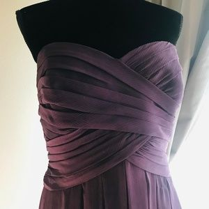 David's Bridal Plum Strapless Dress Bridesmaid